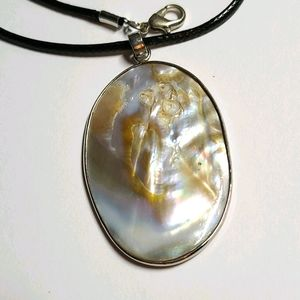 Pearl Pendant on Faux Leather Chain